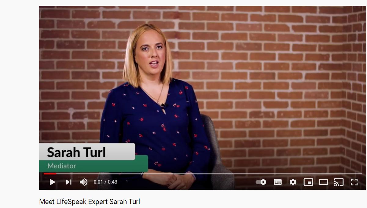 screenshot of LifeSpeak expert Sarah Turl